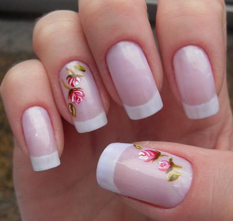 unhas decoradas francesinha  com flores