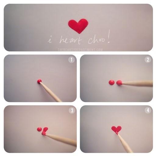 desenhar coração nas unhas