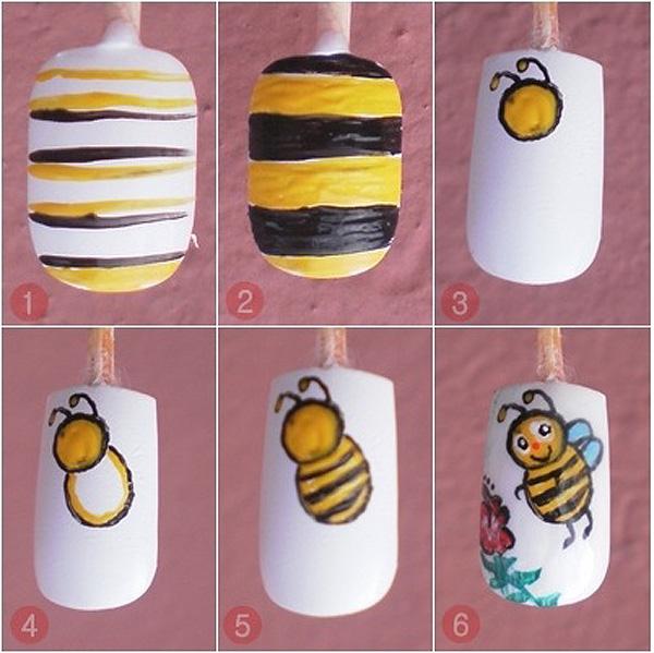 Mais um tutorial simples de como decorar unhas com desenho de abelha: