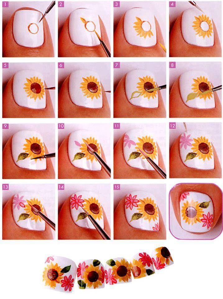 Рисунки на ногтях красками для начинающих пошагово