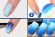 unhas degrade azul tutorial passo a passo
