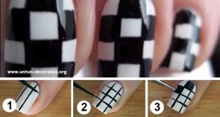 unhas em xadrez passo a passo