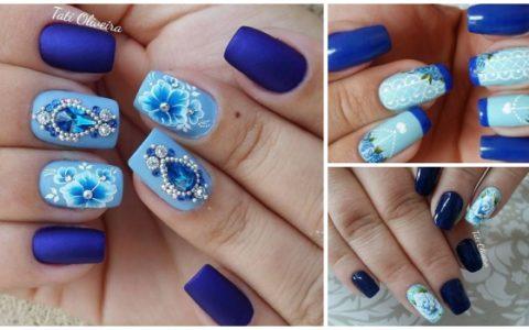 34 Modelos de unhas decoradas com esmalte Azul