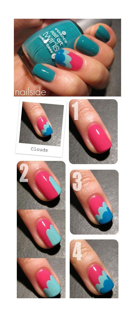 Tutorial simples de como fazer decoração de unhas com desenhos de nuvens coloridas
