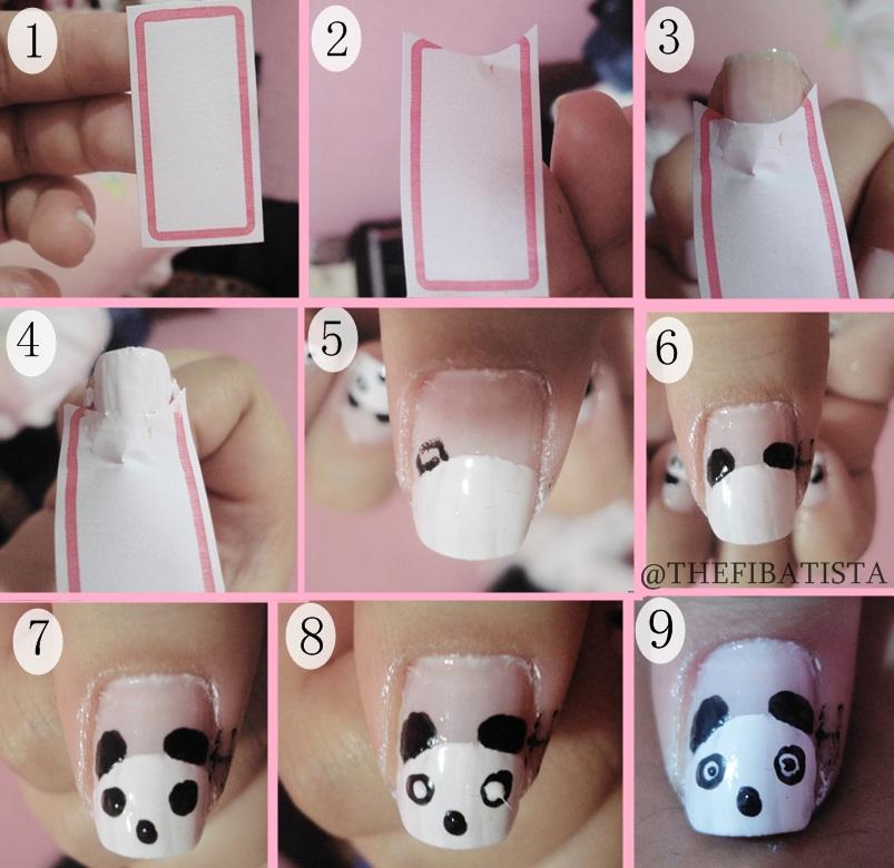 Tutorial simples para decorar unhas com desenho do ursinho panda