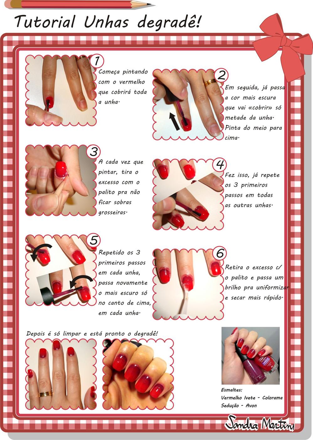 Tutorial para fazer unhas degrade vermelho