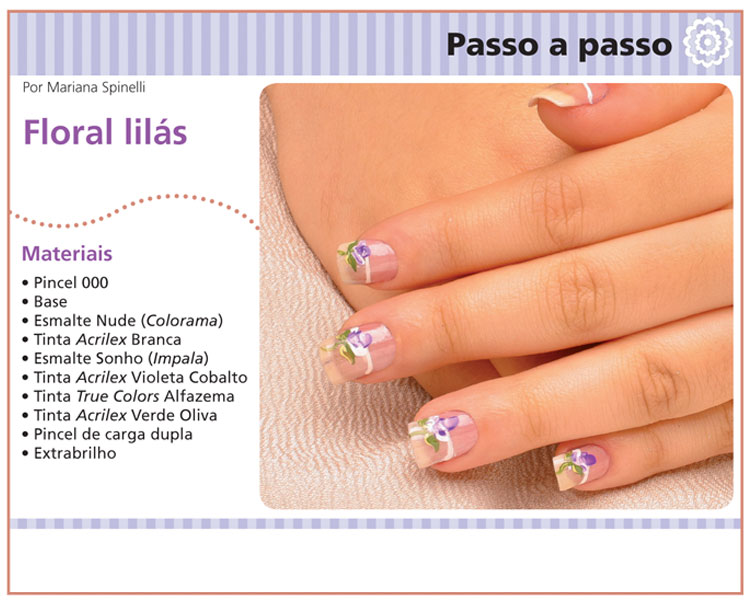 """Mini tutorial decoração de unhas """"Floral Lilás"""""""