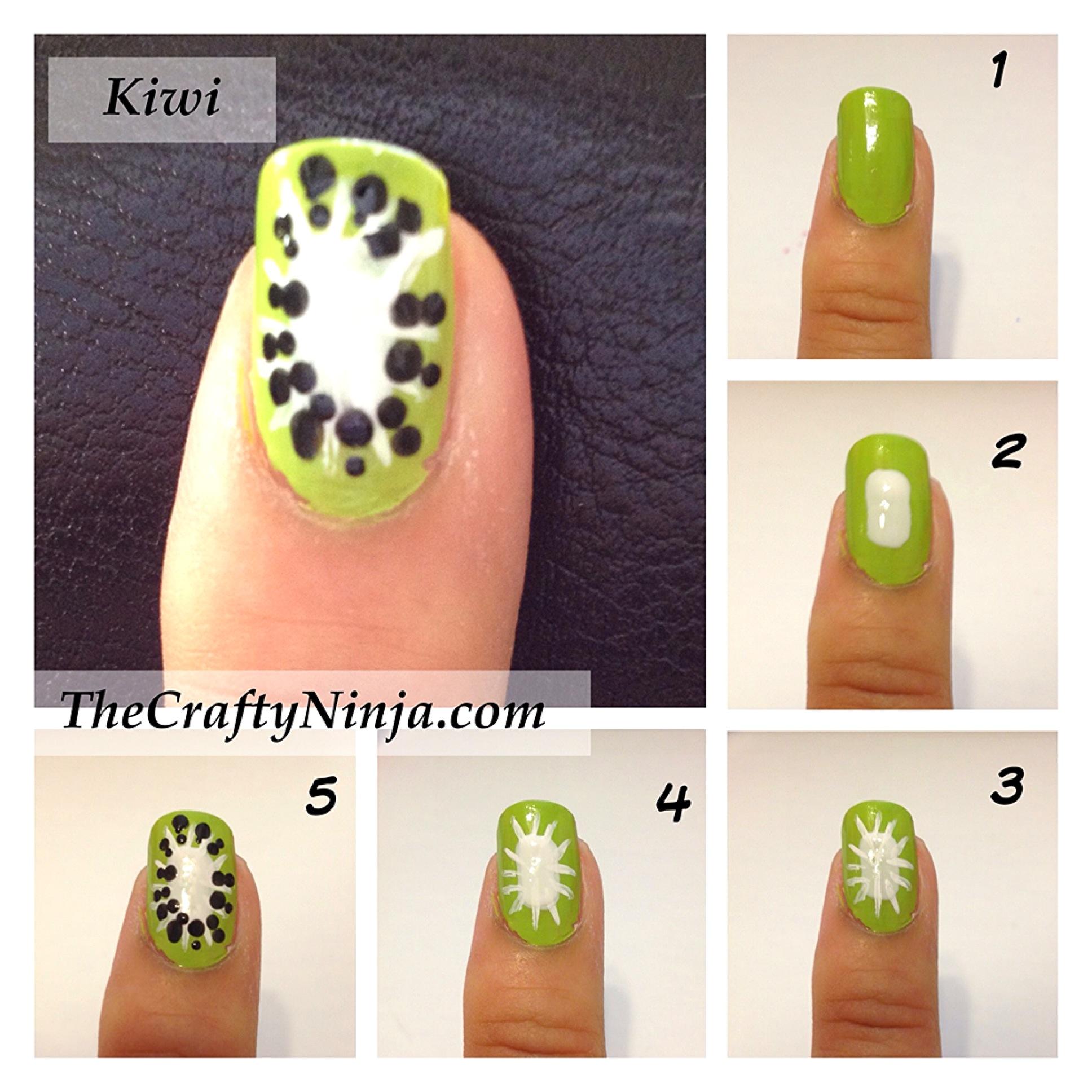 Mini tutorial desenhar kiwi nas unhas