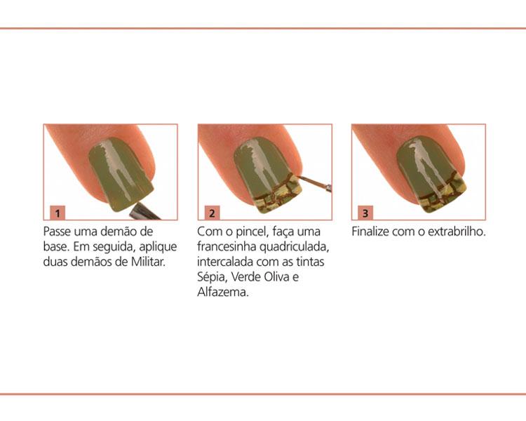 Mini tutorial unhas militar camuflado