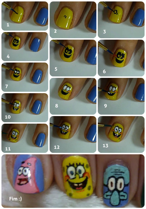 Tutorial unha decorada do Bob Esponja