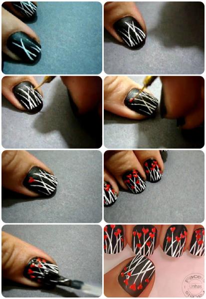 Tutorial simples unhas decoradas com corações