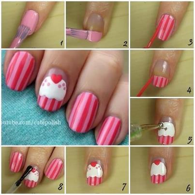Como decorar unhas com desenho de cupcake