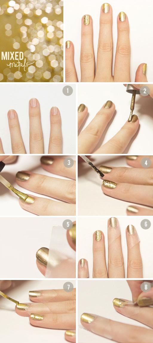 Tutorial unhas douradas metálicas