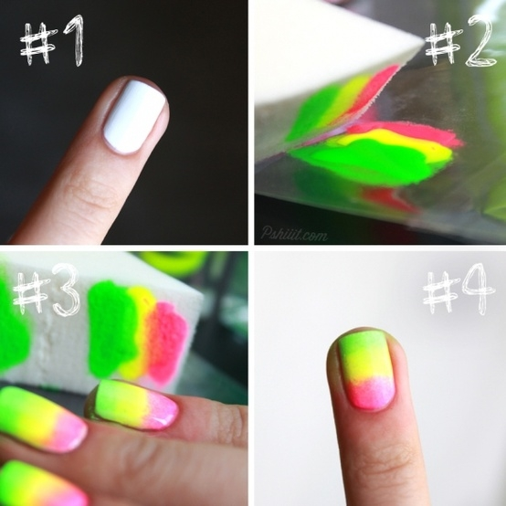 Tutorial unhas tricolor fluorecentes