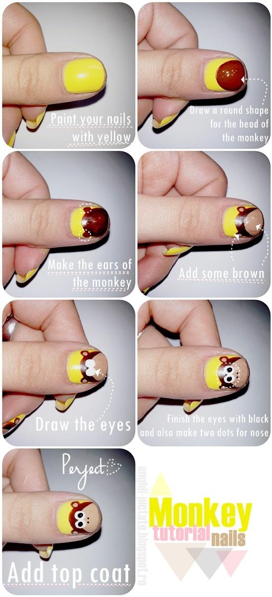 Tutorial desenho de macaquinho nas unhas