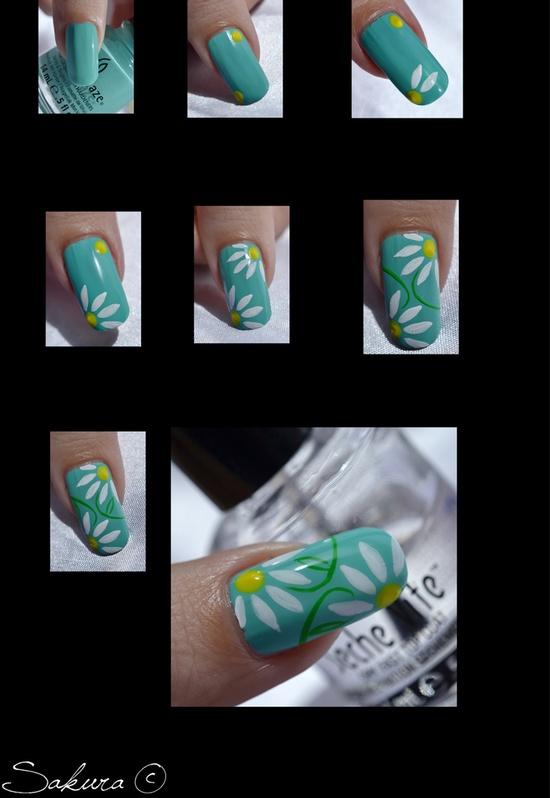Tutorial unhas com desenho de flores