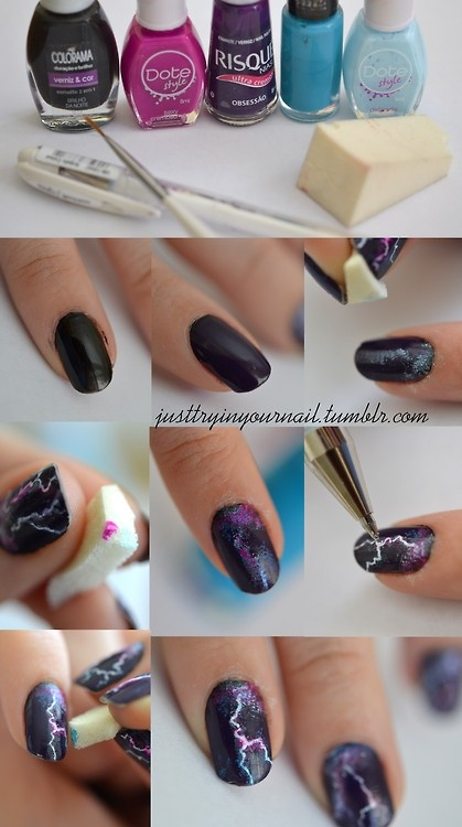 Tutorial unhas decoradas com raios