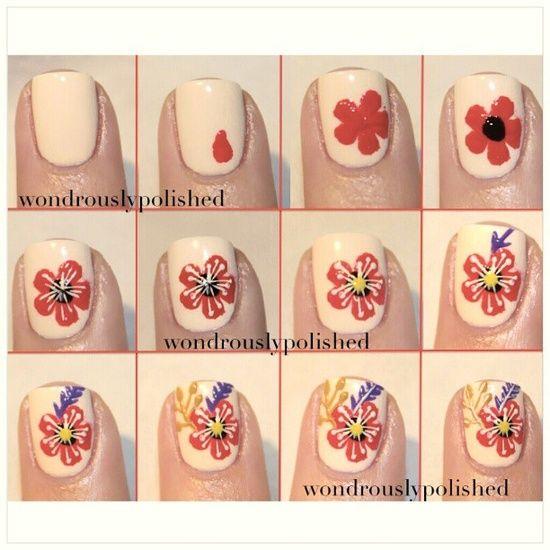 Tutorial unhas com flores