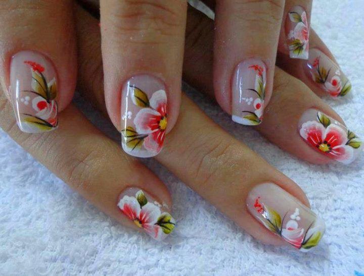 decoracao em unha branca : decoracao em unha branca:Outros modelos de unhas decoradas com flores para vocês se inspirarem