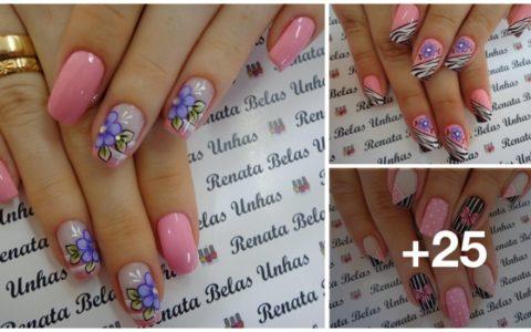 25 Modelos de unhas decoradas e pintadas em PINK